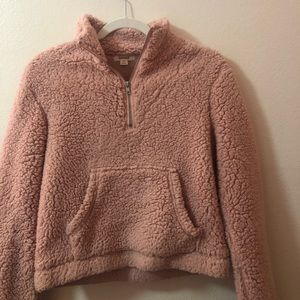 Cropped pink fuzzy zip up